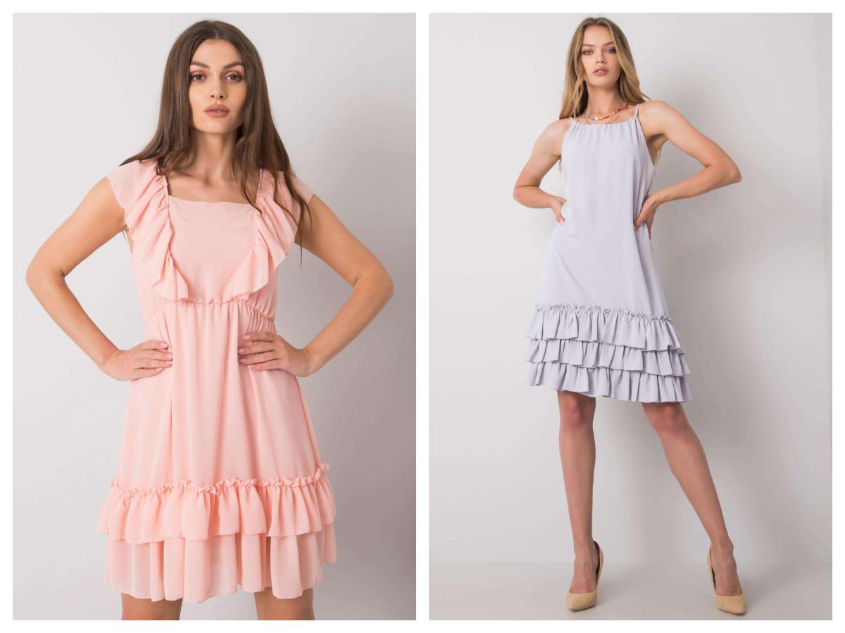 Morelowa sukienkami mini na ramiączkach z falbanami